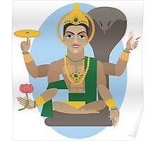 illustration of Hindu deity lord Vishnu Poster