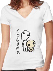 Princess Mononoke's Kodama Women's Fitted V-Neck T-Shirt
