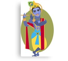 illustration of Hindu deity Lord Krishna flute Canvas Print