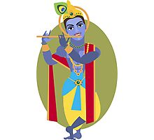 illustration of Hindu deity Lord Krishna flute Photographic Print