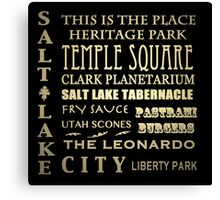 Salt Lake City Utah Famous Landmarks Canvas Print
