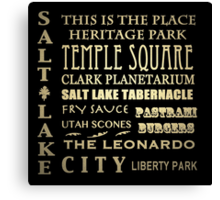 Salt Lake City Utah Famous Landmarks Canvas Print
