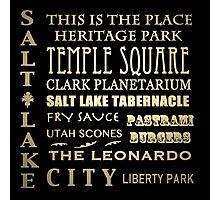 Salt Lake City Utah Famous Landmarks Photographic Print