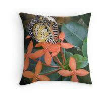 orange butterfly and flower Throw Pillow