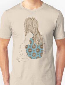 Little girl in a dress sitting back hair Unisex T-Shirt