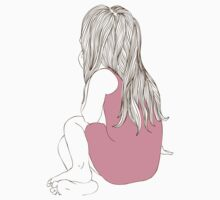 Little girl in a pink dress sitting back hair Kids Clothes