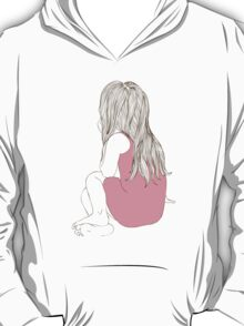 Little girl in a pink dress sitting back hair T-Shirt