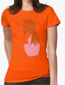 Little girl in a pink dress sitting back hair Womens Fitted T-Shirt