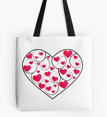 Pretty love hearts in a frame Tote Bag