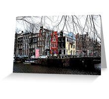 A colourful Amsterdam streetcorner Greeting Card