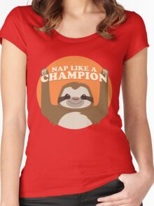 Sloths Nap Like Champions Women's Fitted Scoop T-Shirt