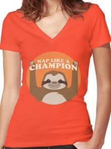 Sloths Nap Like Champions Women's Fitted V-Neck T-Shirt