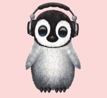 Cute Baby Penguin Dj Wearing Headphones Baby Tee