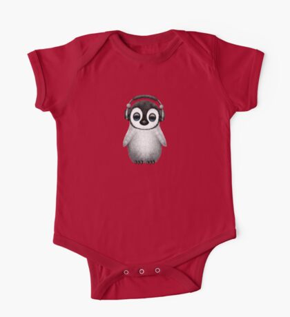 Cute Baby Penguin Dj Wearing Headphones One Piece - Short Sleeve