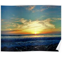 Sunset over Pebbles Poster