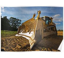 Dirty yellow bulldozer Poster