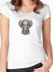 Cute Baby Elephant Dj Wearing Headphones and Glasses Women's Fitted Scoop T-Shirt