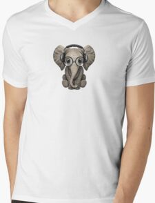 Cute Baby Elephant Dj Wearing Headphones and Glasses Mens V-Neck T-Shirt
