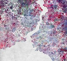 Istanbul Watercolor Map by MapMapMaps