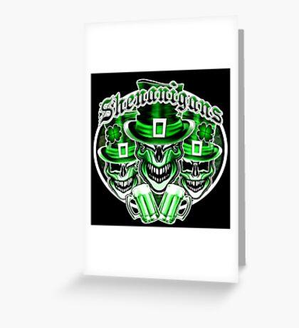 Laughing Leprechaun Skulls: Shenanigans 2 Greeting Card