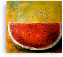 Folk Art Melon  Canvas Print