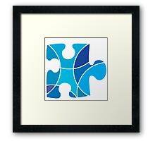 Blue puzzle piece Framed Print