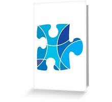 Blue puzzle piece Greeting Card