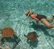 Swimming with turtles at lagoon in Bora Bora, Tahiti by chord0