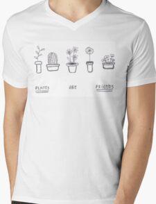 Plants are Friends (black and white) Mens V-Neck T-Shirt