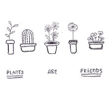 Plants are Friends (black and white) Photographic Print