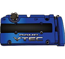 Honda H22 Valve Cover - Blue Photographic Print