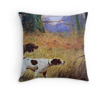 Hounds at the ready oil painting reporduction of 18th century painting Throw Pillow