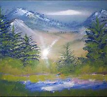 Rockies mountain scene in winter oil painting by coolart