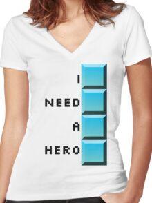 I need a hero- long tetris Women's Fitted V-Neck T-Shirt