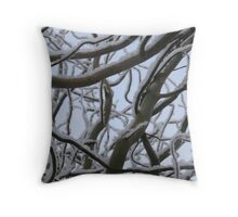 snow on willow Throw Pillow