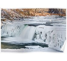 Wintry Waterfall Poster