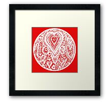 Valentine Circle of Hearts Aussie Tangle - White - See Description Notes re Colours Framed Print