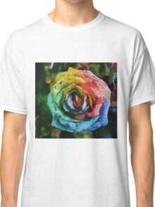 Rainbow Rose painting Classic T-Shirt