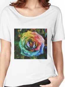 Rainbow Rose painting Women's Relaxed Fit T-Shirt