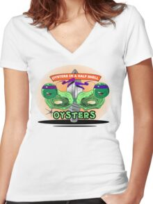 Oysters In A Half Shell Women's Fitted V-Neck T-Shirt