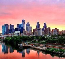 Colorful Philly Skyline by DeeAre