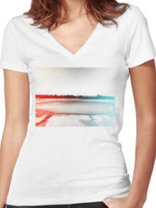 Digital Landscape #10 Women's Fitted V-Neck T-Shirt