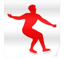 Red Figure Skate Silhouette Poster