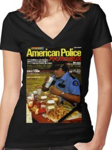 American Police Women's Fitted V-Neck T-Shirt