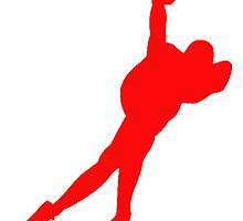 Red Speed Skater Silhouette by kwg2200