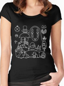 Ghibli in black Women's Fitted Scoop T-Shirt