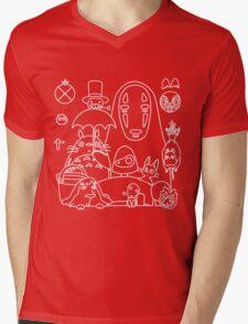 Ghibli in black Mens V-Neck T-Shirt