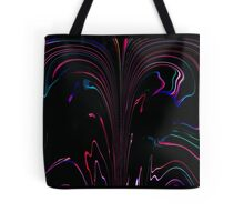 Bright Neon Lines Flowing on Black Background Abstract Art Design Tote Bag