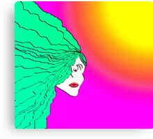 Lady Green Psychedelic Canvas Print