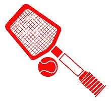 Red Tennis Racket And Ball by kwg2200